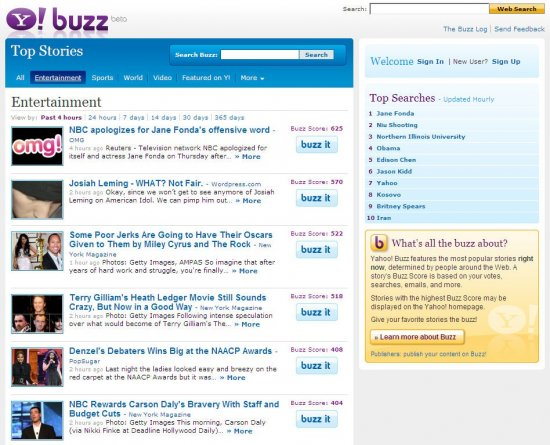 Yahoo Buzz VS digg